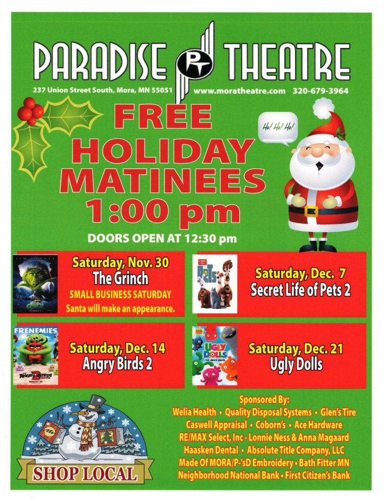 Flyer image listing free holiday matinees at Paradise Theater