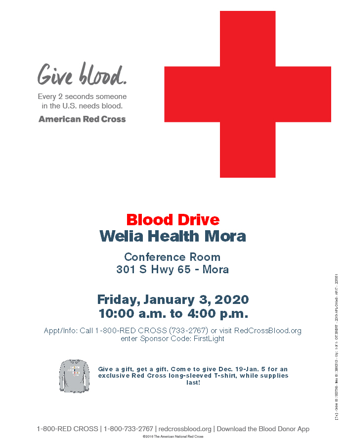 Red Cross Blood Drive flyer: Welia Health Mora, January 3 from 10am-4pm.