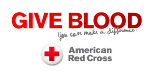 Give Blood. You can make a difference. American Red Cross logo.