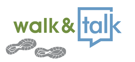 Walk and Talk logo, with image of two footprints from athletic shoes