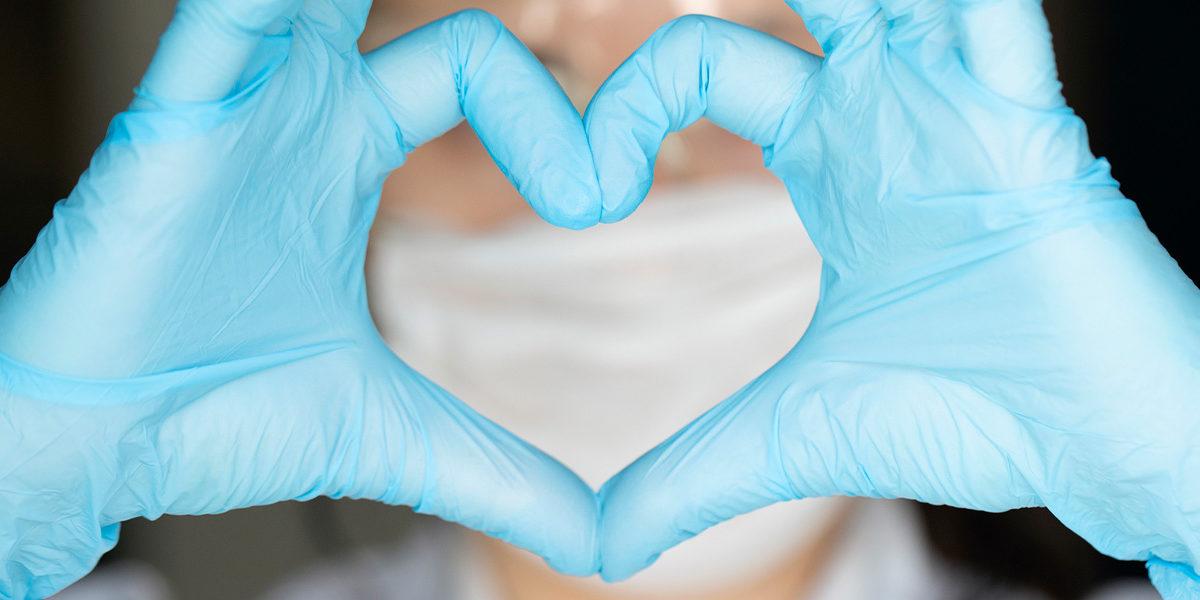 Healthcare worker heart shape