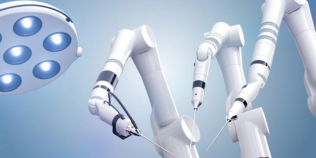 Illustration of a futuristic robotic surgery
