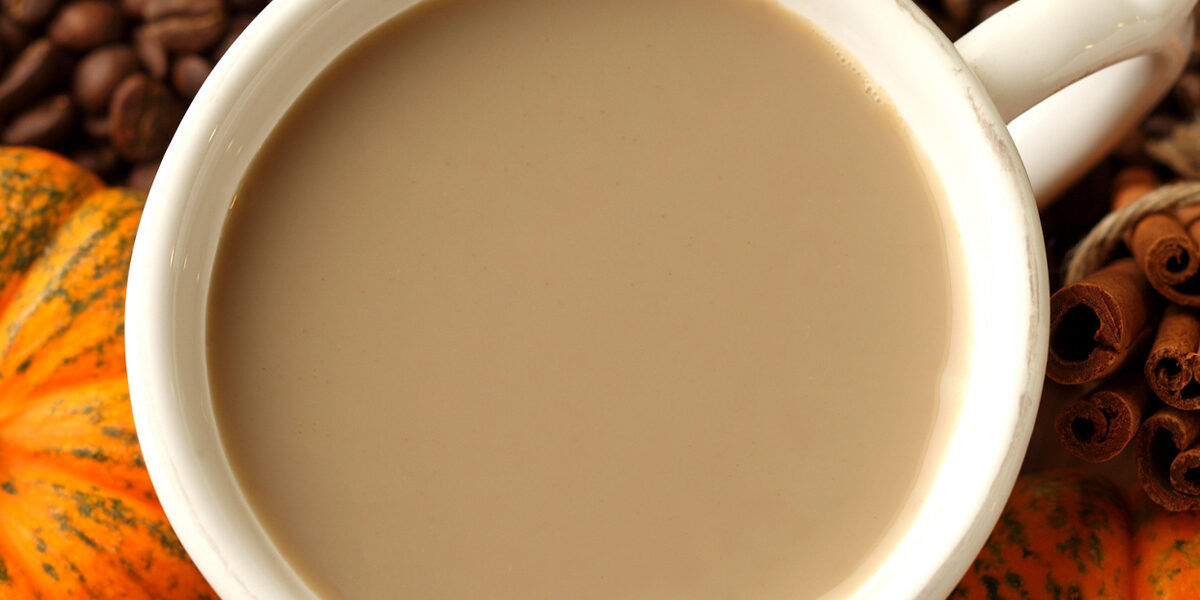 Close-up of pumpkin spice coffee