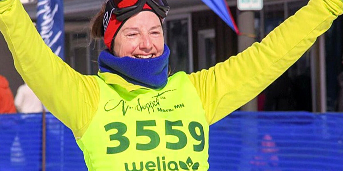 Close-up of a cross-country skier participating in the Vasalopper ski race