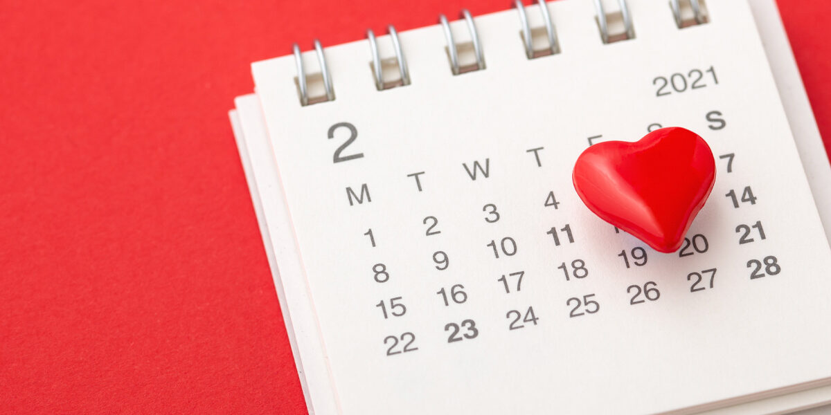 February 2021 calendar with red heart